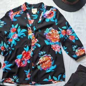 Maeve Anthropologie Woodland Walk Button Up Shirt